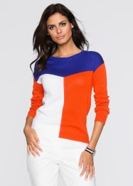 Pull, BODYFLIRT, noir/blanc/orange sanguine