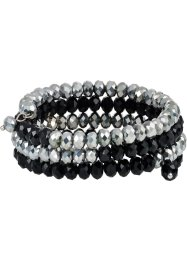 Bracelet multi-rangs avec pierres brillantes, bpc bonprix collection, gris/noir