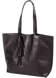 Shopper avec houppe, bpc bonprix collection, noir