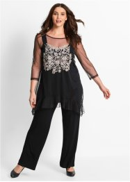 Ensemble top + T-shirt + pantalon (Ens. 3 pces.), bpc bonprix collection, noir à fleurs