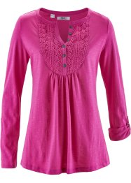 T-shirt en fil flammé, bpc bonprix collection, fuchsia moyen