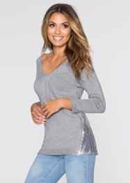 Pull avec application de paillettes, BODYFLIRT, gris clair chiné