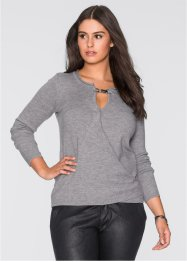 Pull avec application, BODYFLIRT, gris chiné