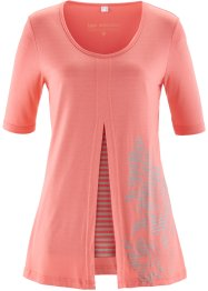 T-shirt 2 en 1, bpc selection, fuchsia clair/gris clair chiné