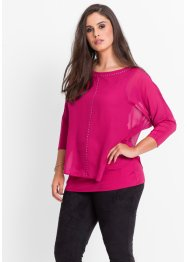 Blouse avec application de strass, BODYFLIRT, rouge prune