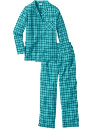 Pyjama en flanelle, bpc bonprix collection, pétrole à carreaux
