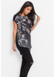 T-shirt long, BODYFLIRT, noir imprimé