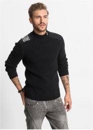 Pull Slim Fit, RAINBOW, noir
