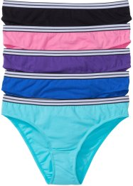 Lot de 5 slips, bpc bonprix collection, noir/bleu azur/violet/bleu ciel/rose