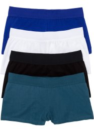 Lot de 4 shorties en coton bio, bpc bonprix collection, noir/pétrole/bleu/blanc