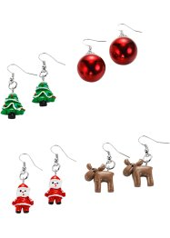 4 paires de boucles d'oreilles Christmas, bpc bonprix collection, argenté/multi