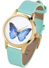 Montre fin bracelet à motif, bpc bonprix collection, menthe papillon