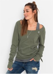 Ensemble avec t-shirt et top, RAINBOW, olive/gris chiné
