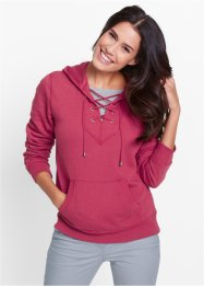 Sweatshirt à capuche avec laçage, bpc bonprix collection, rouge baie