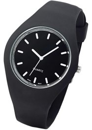 Montre plate bracelet silicone, bpc bonprix collection, noir