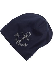 Beanie jersey à strass, bpc bonprix collection, bleu ancre