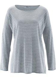 T-shirt en maille manches 3/4, bpc bonprix collection, gris clair chiné rayé