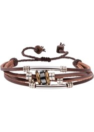 Bracelet de cuir à quatre rangs, bpc bonprix collection, rouge/cognac/blanc