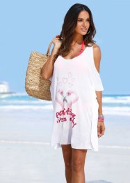 T-shirt de plage, bpc selection, blanc/flamant rose