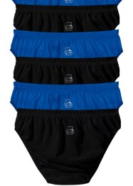 Lot de 6 slips, bpc bonprix collection, noir+bleu azur