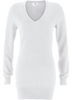 Pull long en maille fine, bpc bonprix collection, blanc