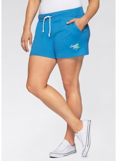 Lot de 2 shorts en sweat, bpc bonprix collection, bleu lagon/gris clair chiné
