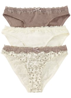 Lot de 3 slips, bpc bonprix collection, imprimé+champagne+gris marron