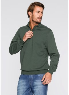 Sweat-shirt col camionneur Regular Fit, bpc bonprix collection, vert foncé