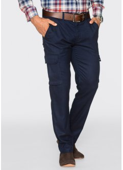 Pantalon cargo Regular Fit Straight, bpc selection, bleu foncé chiné