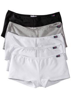 Lot de 5 shorties, bpc bonprix collection, noir+blanc+gris