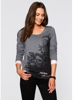 T-shirt manches longues, bpc bonprix collection, gris chiné imprimé
