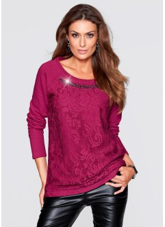 Sweatshirt à dentelle, bpc selection premium, rouge betterave