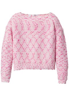 Pull maille bulle, court, bpc bonprix collection, rose/fuchsia