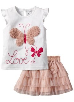 T-shirt + jupe tulle (Ens. 2 pces.), bpc bonprix collection, blanc/vieux rose
