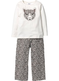 Pyjama (Ens. 2 pces.), bpc bonprix collection, blanc cassé/noir