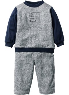 Sweat-shirt bébé + pantalon sweat (Ens. 2 pces.) en coton bio, bpc bonprix collection, noir/blanc chiné