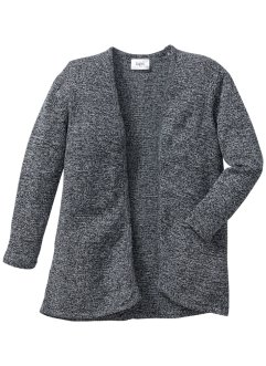 Cardigan en maille, bpc bonprix collection, anthracite chiné/blanc cassé chiné