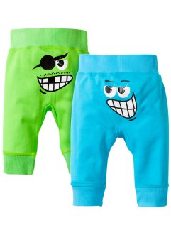 Lot de 2 pantalons sweat, bpc bonprix collection, vert anis/turquoise