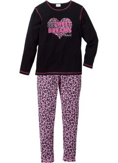 Pyjama (Ens. 2 pces.), bpc bonprix collection, noir/rose