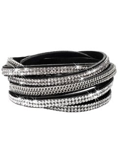 Bracelet multi-rangs à strass, bpc bonprix collection, noir