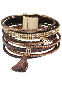 Large bracelet avec houppe, bpc bonprix collection, marron/doré