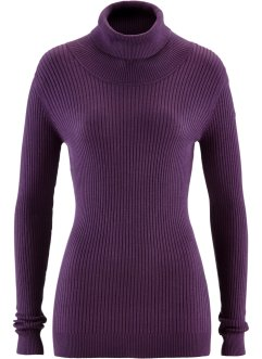 Pull col roulé, bpc bonprix collection, myrtille