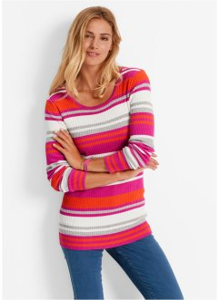 Pull col rond, bpc bonprix collection, fuchsia rayé