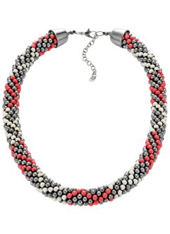 Collier de perles fantaisie multicolores, bpc bonprix collection, argenté/capucine/blanc cassé