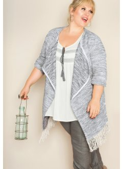 Gilet long en maille manches longues - designed by Maite Kelly, bpc bonprix collection, blanc cassé/gris fumée chiné