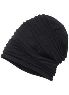 Beanie uni à fronces, bpc bonprix collection, noir