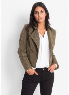 Veste synthétique imitation cuir, BODYFLIRT, olive used