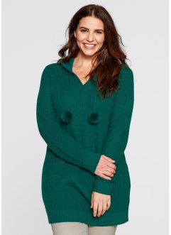 Pull long à capuche, bpc bonprix collection, vert pétrole