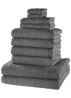 Ensemble serviettes de toilette New Uni Deluxe (10 pces.), bpc living, anthracite