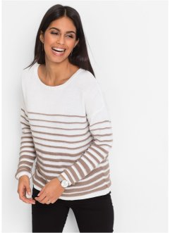 Pull manches longues, BODYFLIRT, blanc/taupe rayé